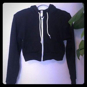 American apparel cropped, zip up hoodie